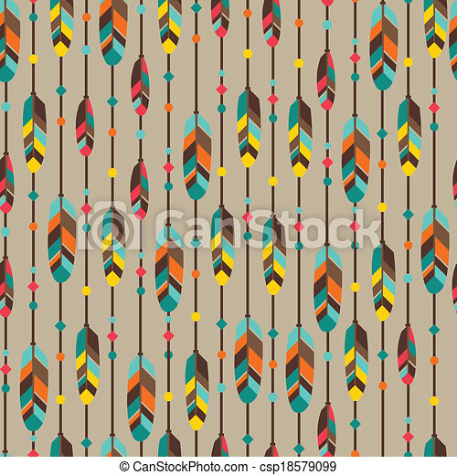 Ethnic seamless pattern in native style with feathers. - csp18579099