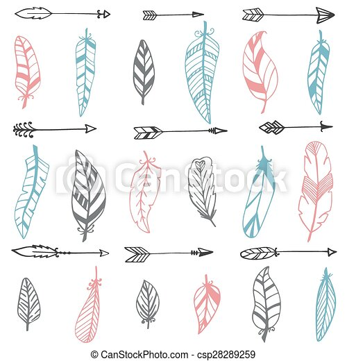 ethnic seamless pattern with hand drawn arrows and feathers vector
