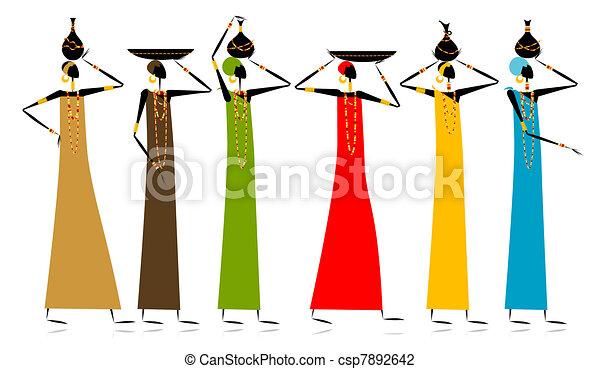 Ethnic women with jugs - csp7892642