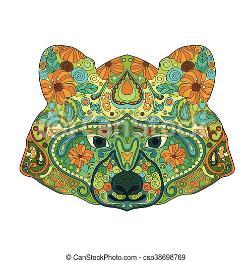 Ethnic Zentangle Ornate Hand Drawn Raccoon Head. Painted Doodle Animal Head Vector Illustration. Sketch for Tattoo, Poster, Print or t-shirt. Relaxing Coloring Book for Adult and Children. - csp38698769