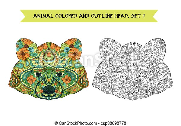 Ethnic Zentangle Ornate Hand Drawn Raccoon Head. Black and White and Painted Ink Doodle Animal Head Vector Illustration. Sketch for Tattoo, Poster, Print or t-shirt. Relaxing Coloring Book for Adult and Children. - csp38698778