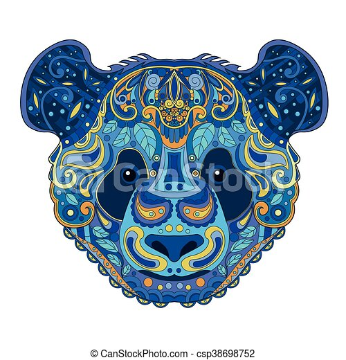 aee3432e0bbbf Ethnic zentangle ornate handdrawn panda bear head. painted doodle animal  head vector illustration. sketch for tattoo, poster, print or t-shirt.  relaxing ...