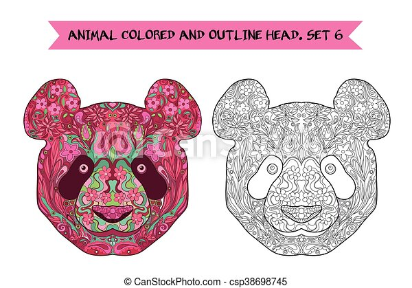 5b0bfb4831285 Ethnic Zentangle Ornate Handdrawn Panda Head. Black And White And Painted  Ink Doodle Animal Head
