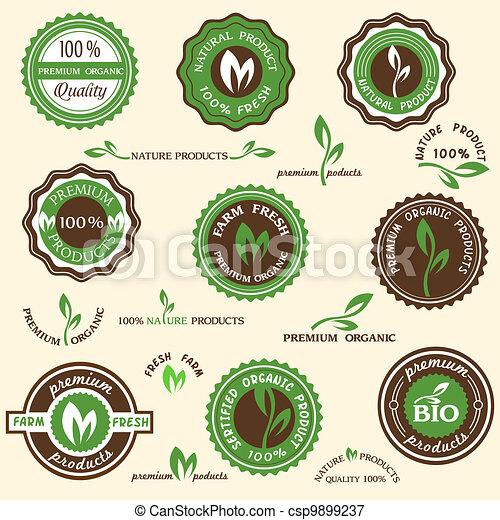 etichette, organico, collezione, icone - csp9899237