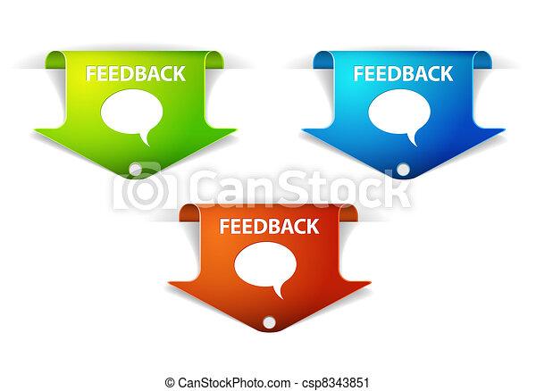etichette, vettore, adesivi, feedback, /, freccia - csp8343851