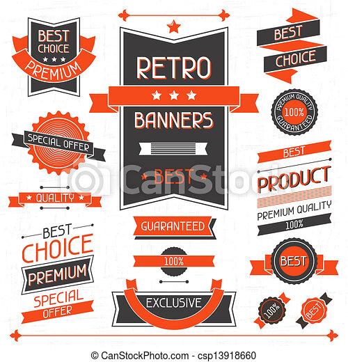 etiketten, banners., set, stickers., retro - csp13918660