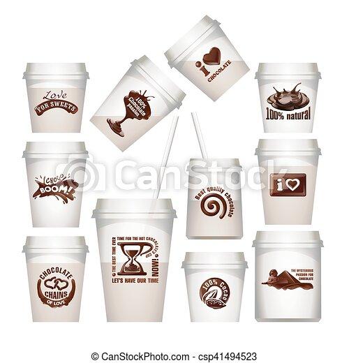 etiketten, chocolade, set, koppen, plastic - csp41494523