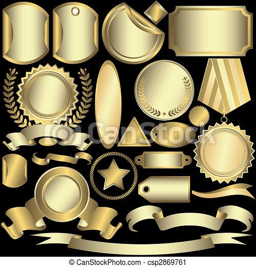 etiketten, gouden, (vector), set, zilverachtig - csp2869761