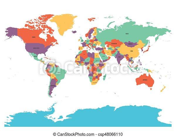 Politische Weltkarte Mit Antarktis Lander In Vier Verschiedenen