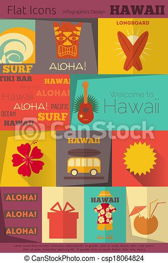 etiketten retro sammlung hawaii brandung wohnung vektor illustration suche clipart. Black Bedroom Furniture Sets. Home Design Ideas
