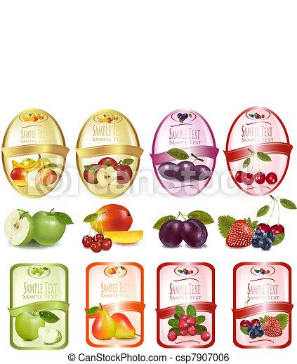 etiketten, set, fruit - csp7907006