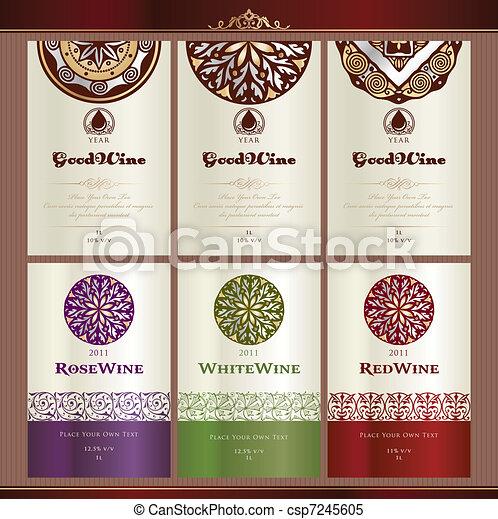 etiketten, verzameling, wijntje - csp7245605