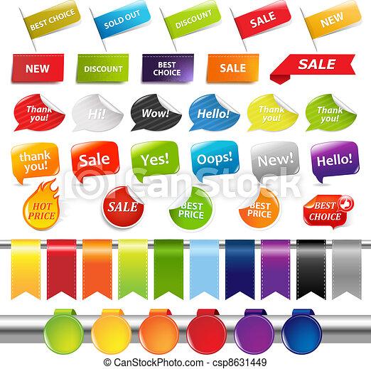 etiketter, sätta, klistermärken, försäljning - csp8631449