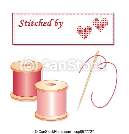 Marca de costura, aguja e hilos - csp8577727