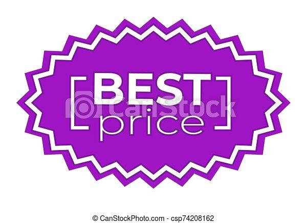 etiqueta de liquidación, púrpura, mejor, pegatina, color, descuento, precio - csp74208162
