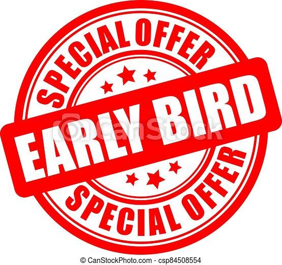 etiqueta, especial, pájaro, oferta, temprano - csp84508554