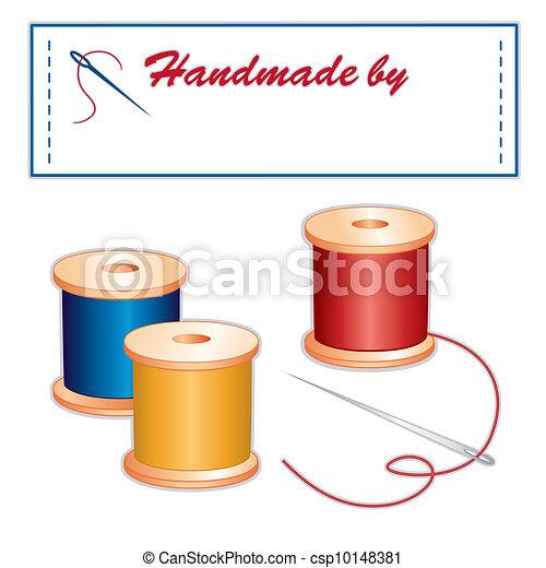 La etiqueta de costura, aguja, hilos - csp10148381