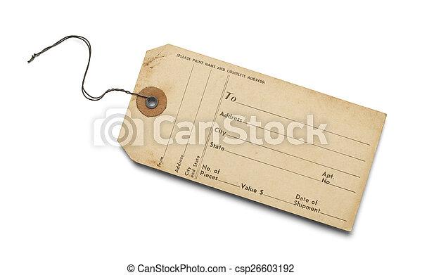 etiqueta, viejo, equipaje - csp26603192