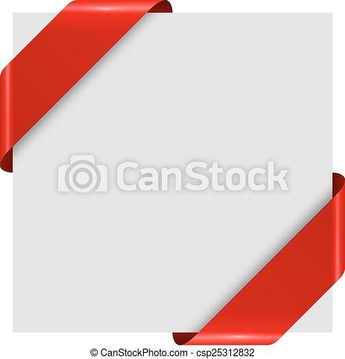 Las etiquetas de la esquina roja se aislan en el fondo blanco. - csp25312832