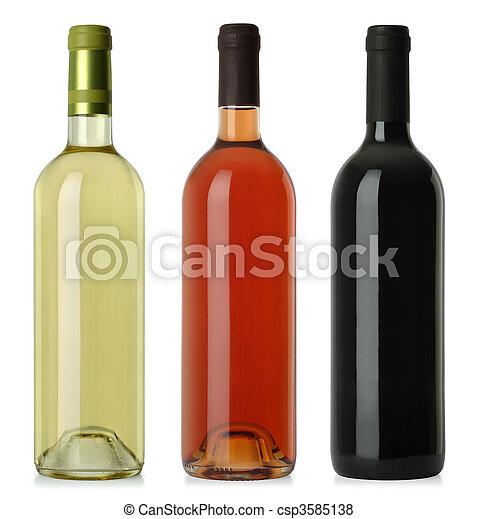 etiquetas, botellas, no, vino, blanco - csp3585138