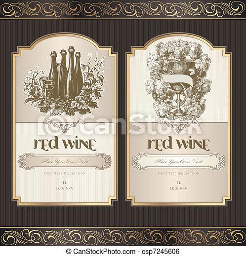 etiquetas, jogo, vinho - csp7245606