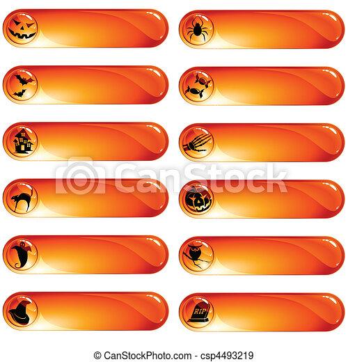 etiquetas, laranja, jogo, 12, dia das bruxas - csp4493219