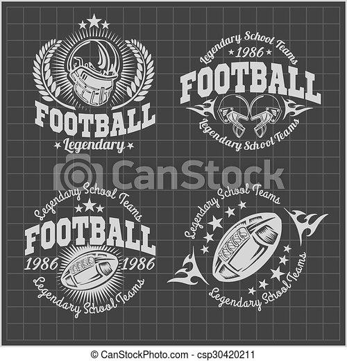 Marcas de vectores de fútbol americano para posters, folletos o camisetas. Las acciones de Vector. - csp30420211