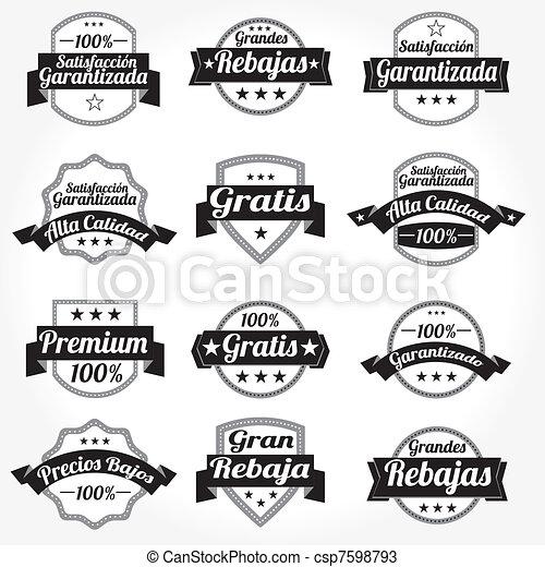etiquetas, vetorial, jogo, retro, espanhol - csp7598793