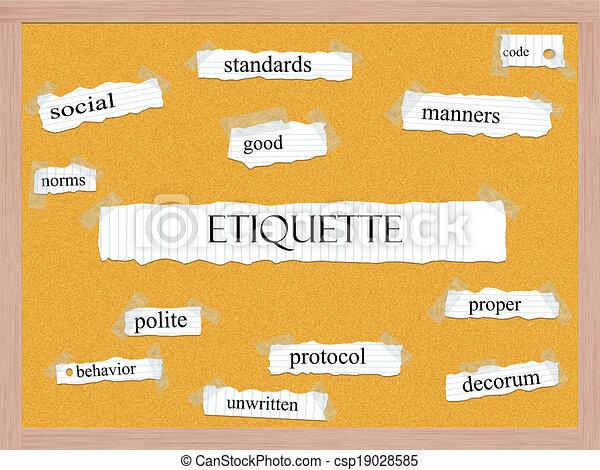 Etiquette Corkboard Word Concept - csp19028585