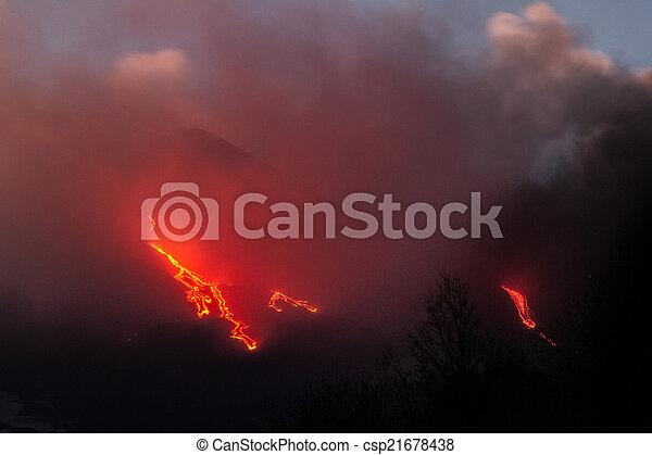 Etna Lava Flow - csp21678438