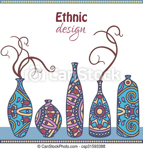 Etno Vector Card With Ornamental African Vases