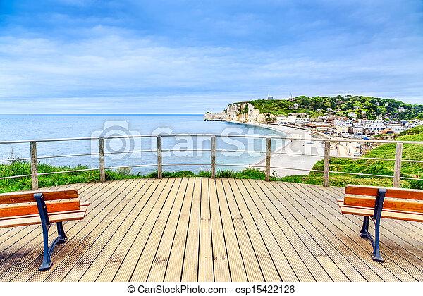 Etretat panoramic view landmark, balcony, beach and village. Normandy, France. - csp15422126
