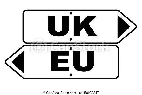 EU And UK Arrow Sign - csp50930347