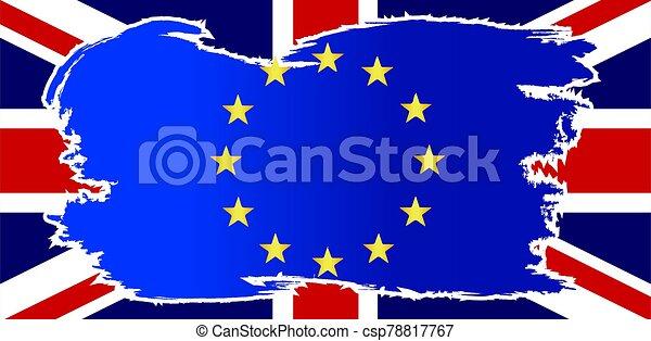 EU Flag Grunge Over UK Flag - csp78817767