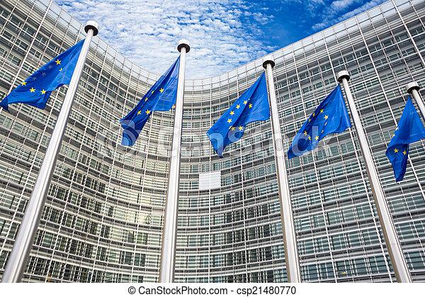 EU flags in front of Berlaymont building  - csp21480770
