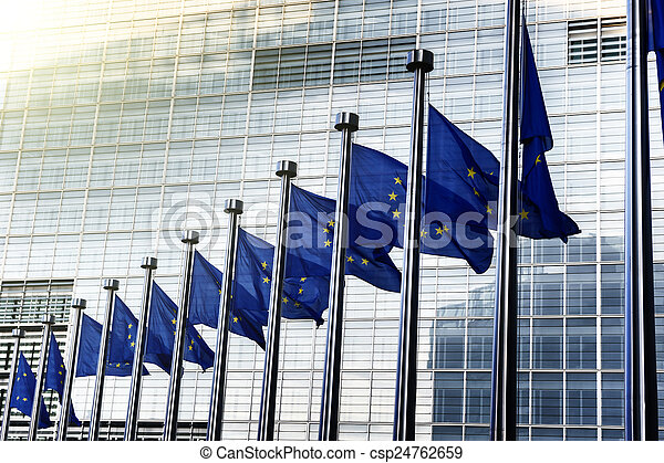 EU flags in front of European Commission in Brussels - csp24762659