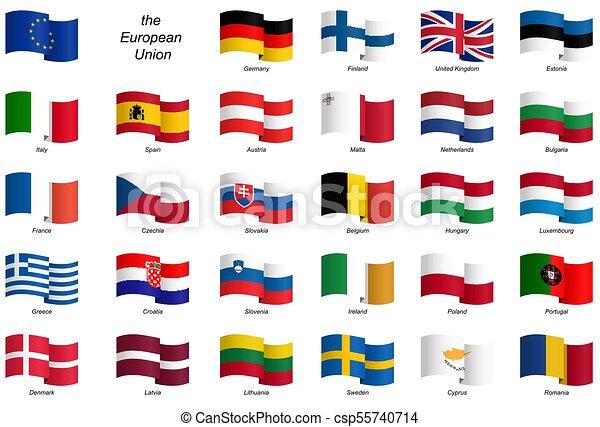eu, vlaggen, -, verzameling, land - csp55740714