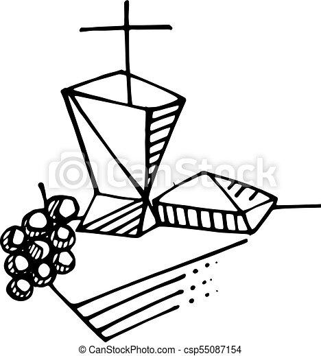 Eucharist Religious Symbols Ink Illustration Hand Drawn Clipart