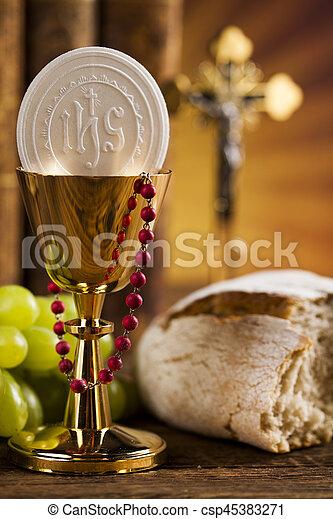 Eucharist, sacrament of communion background - csp45383271