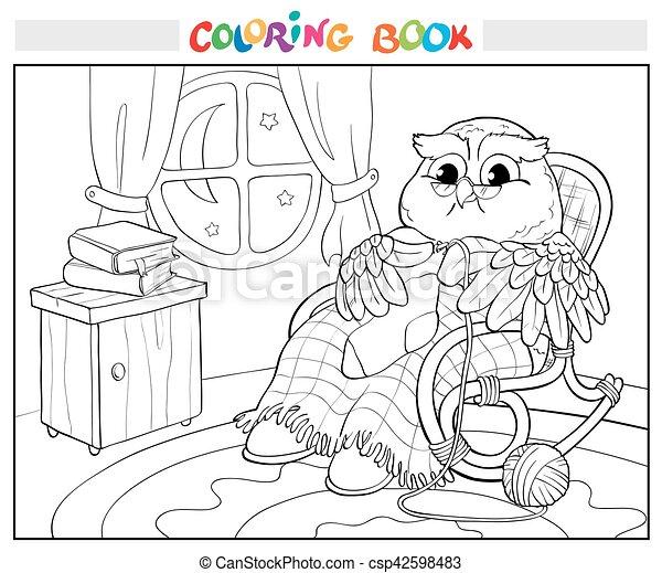 Eule, färbung, altes , book., sock., strickzeug, stuhl.... Vektor ...