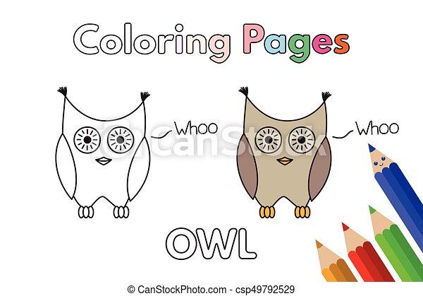 Eule, färbung, karikatur, buch. Vektor, eule, färbung, illustration ...