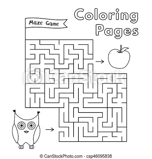 Eule, spiel, karikatur, labyrinth. Vektor, eule, färbung ...