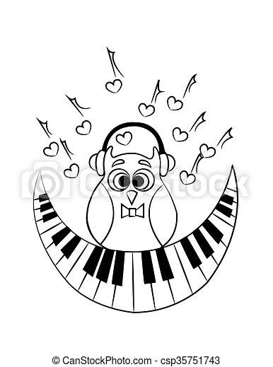 Eule, vektor, färbung, piano. Eule, färbung, abstrakt,... EPS Vektor ...