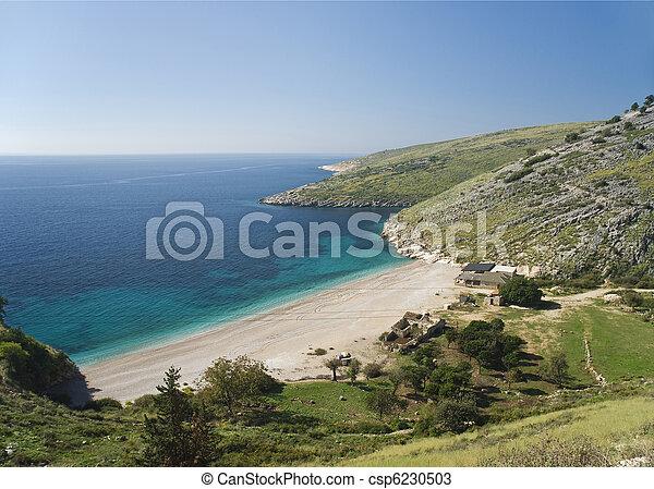 európa, albánia, ionian, napos, lesiklik, ünnepek, tengerpart - csp6230503