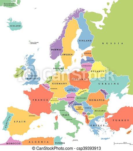 Europa Egyesult Allamok Egyedulallo Politikai Terkep Europa