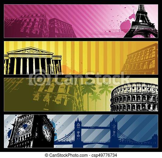 európa, szalagcímek, városok, horizontális, utazás - csp49776734