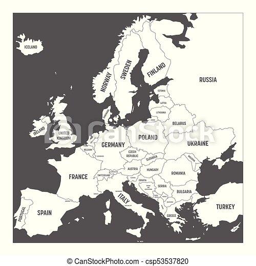 Europa Terkep Orszagok Fuggetlen Szurke Vektor