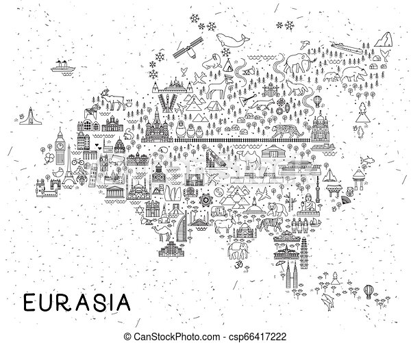 El mapa de iconos de la línea de viaje de Eurasia. Correo de viajes con animales y atracciones de turismo. Ilustración de vectores inspiradores - csp66417222
