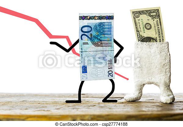 Euro and dollar, concept pegged market - csp27774188