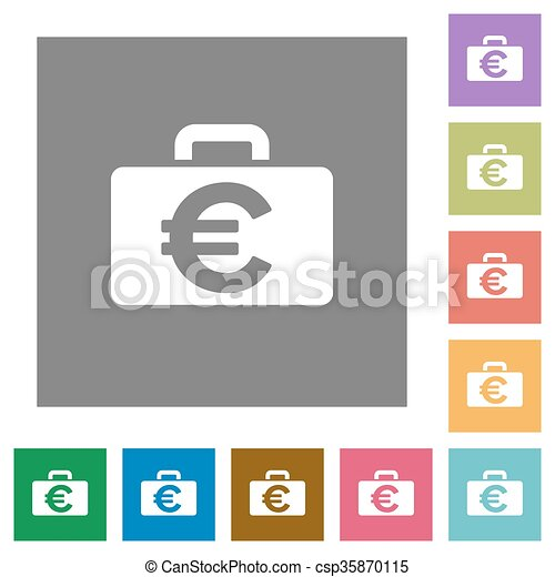 Euro bag square flat icons - csp35870115